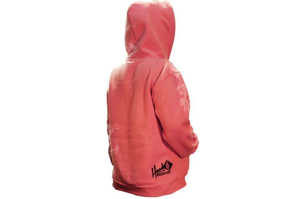 Image of SMOKABLE HOODIE - BLACK HOOD ON PINK - BLACK PIPE