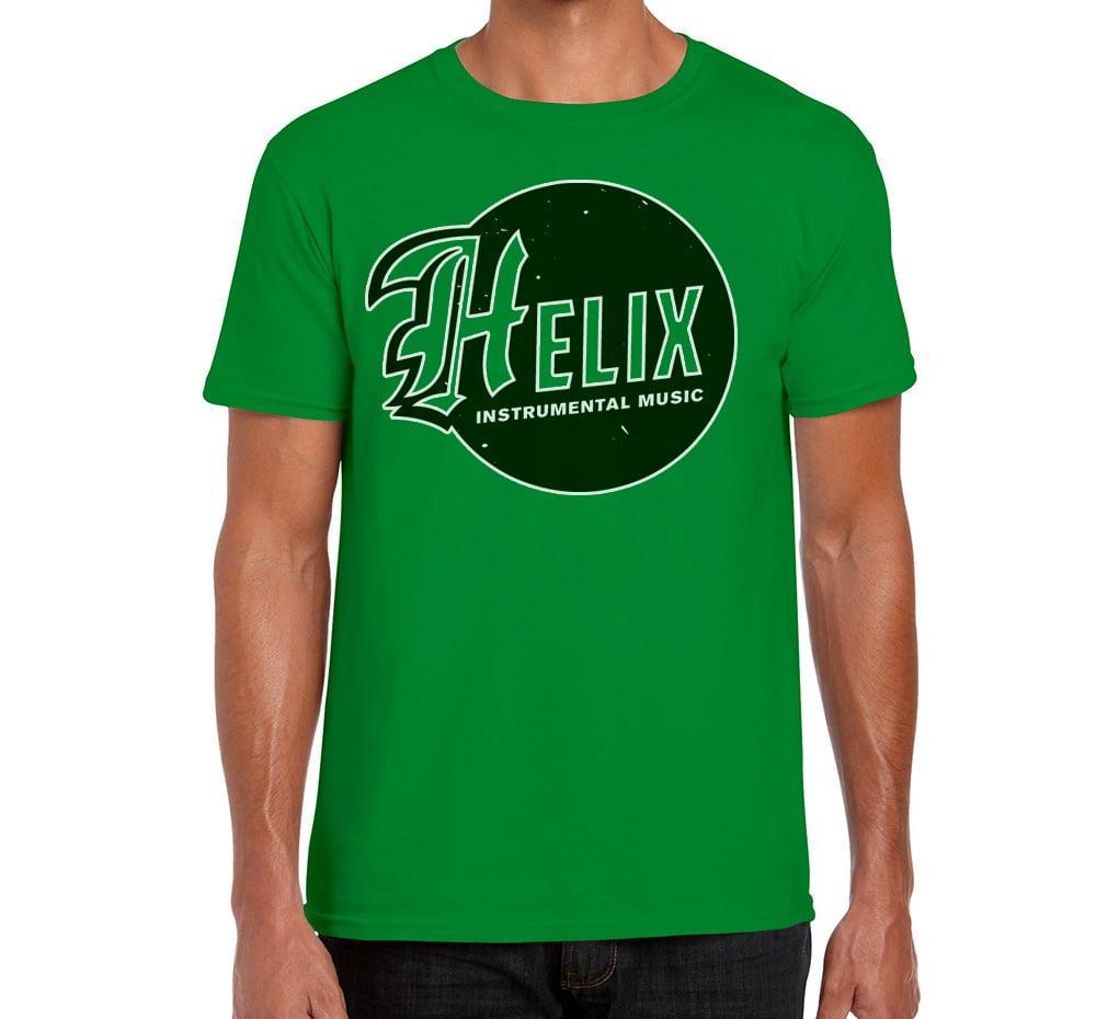 Image of Men's Helix Instrumental Logo Green T-Shirt