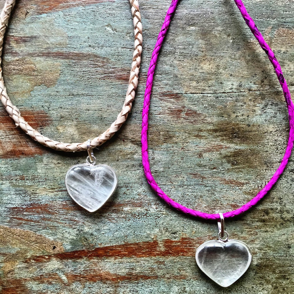Image of S O U L Crystal Quartz heart on leather