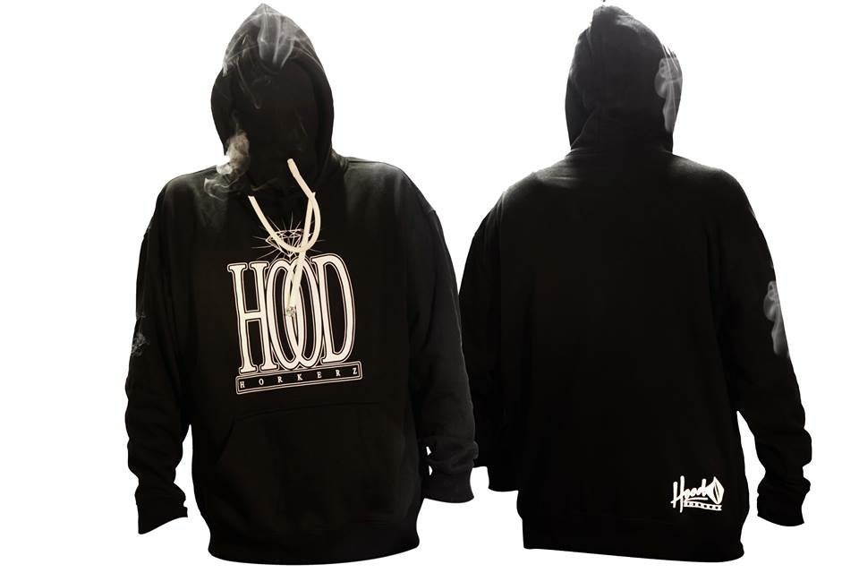 Image of SMOKABLE HOODIE - WHITE HI CLASS ON BLACK - WHITE PIPE