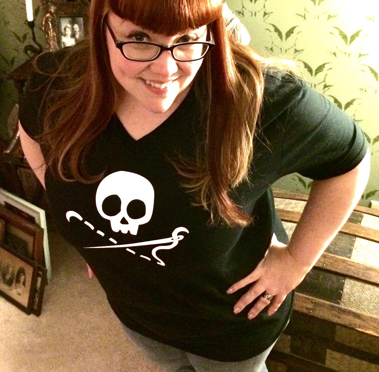 Sewing Skull V-Neck T-Shirt