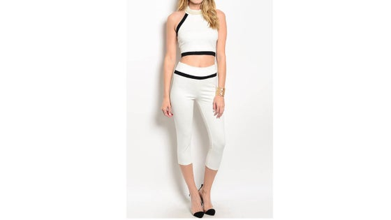 Image of Embellished Neck Crop Top and Capri Set