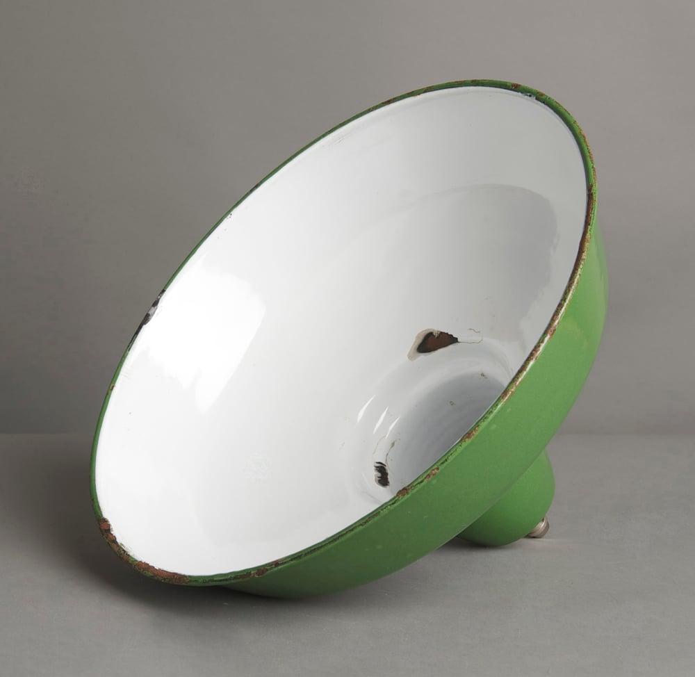 Image of Green Enamel Industrial Pendant