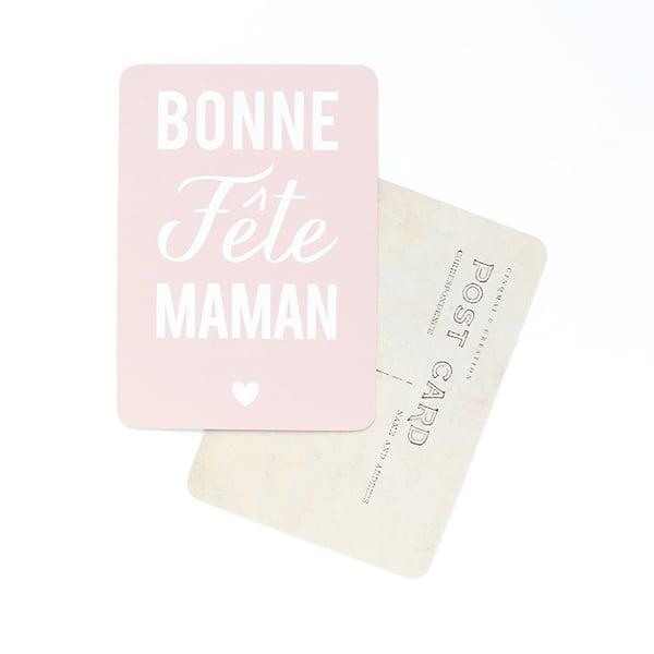 Image of Carte Postale BONNE FÊTE MAMAN / ROSE POUDRÉ