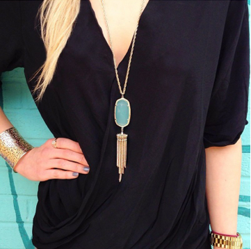 Image of Bohemian Tassel Pendant Necklace :: Mint
