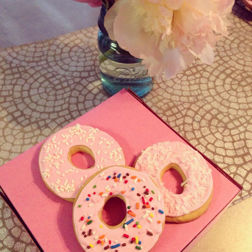 Image of donut themed sugar cookies 13 to a box