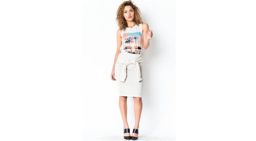 Image of Tie Front Midi Skirt