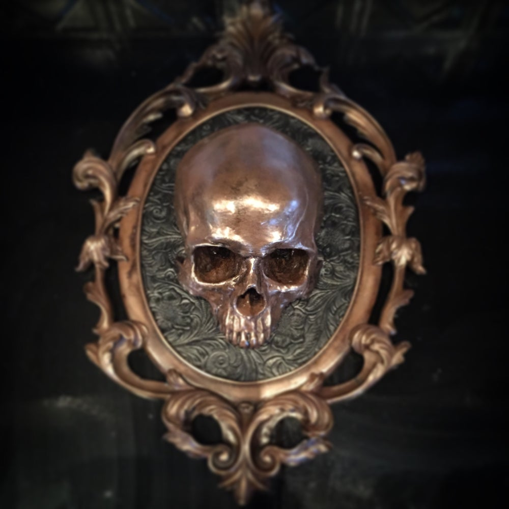 Voss Fine Art — Skull wall mount. Roughly 18 by 15 frame. Ready to hang.