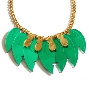 Image of Tropical Leaf Necklace - Gold Pineapples