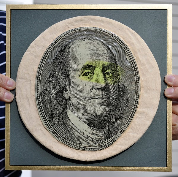 Image of Handmade Stoneware Ceramic Tile - Money Magnet