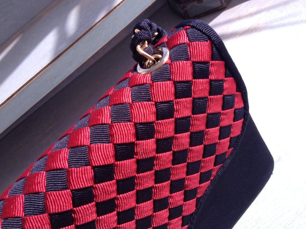 Image of Sac du soir en gros grain noir et rouge