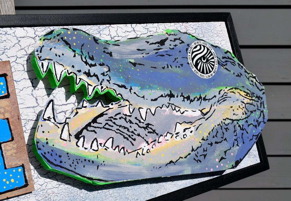 Image of Alligator Art Medicine Folk Art Sign