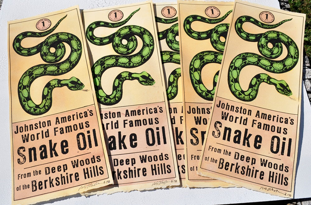 Image of Snake Oil Hand Silkscreened Painting