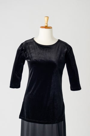 Image of Velvet Round Neck Tunic Top