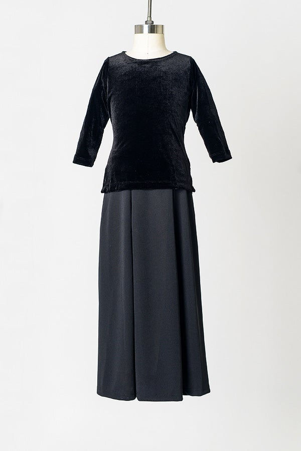 Image of Girls' Black Velvet Tunic Top