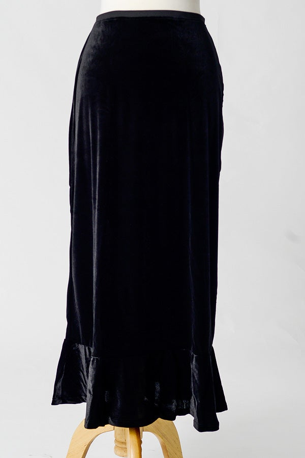 Image of Velvet Flounce Skirt