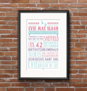 Image of Personalised Baby Words Print