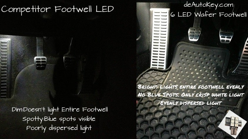 Image of 2pc 6 LED Wafer Footwell set in Crisp White/Red/Blue Fits: Audi Models with the 194 wedge footwells