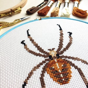 Image of Tawny Spider cross-stitch PDF pattern
