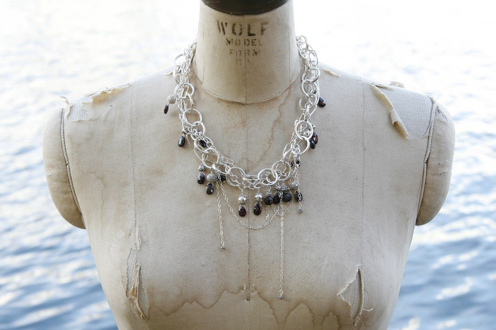 Sterling Chain Choker with Faceted Garnets