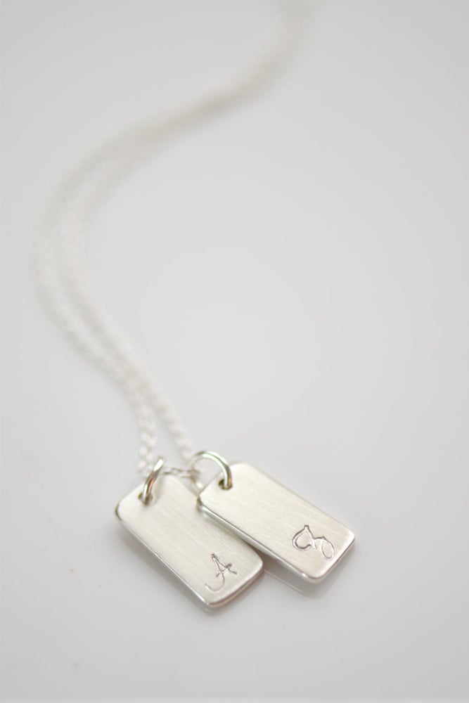Image of 1,2,3,4,5 or 6 Sterling Silver Bar Necklace - Brushed Matte