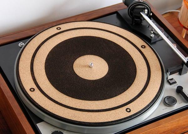 Image of Engraved Cork Anti-Static Turntable Slipmat - 45 RPM Adapter, Speaker Cone, or 33.3 LP