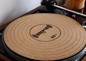 Image of Engraved Cork Anti-Static Turntable Slipmat - 45 RPM Adapter, Speaker Cone, or 33.3 LP