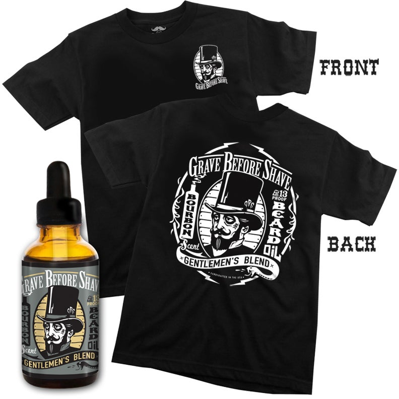 Image of GRAVE BEFORE SHAVE™ Gentlemen's Tee/ Beard Oil combo