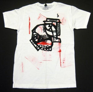 "Image of MJL ""Abstract Red Round Face"" White T-Shirt"