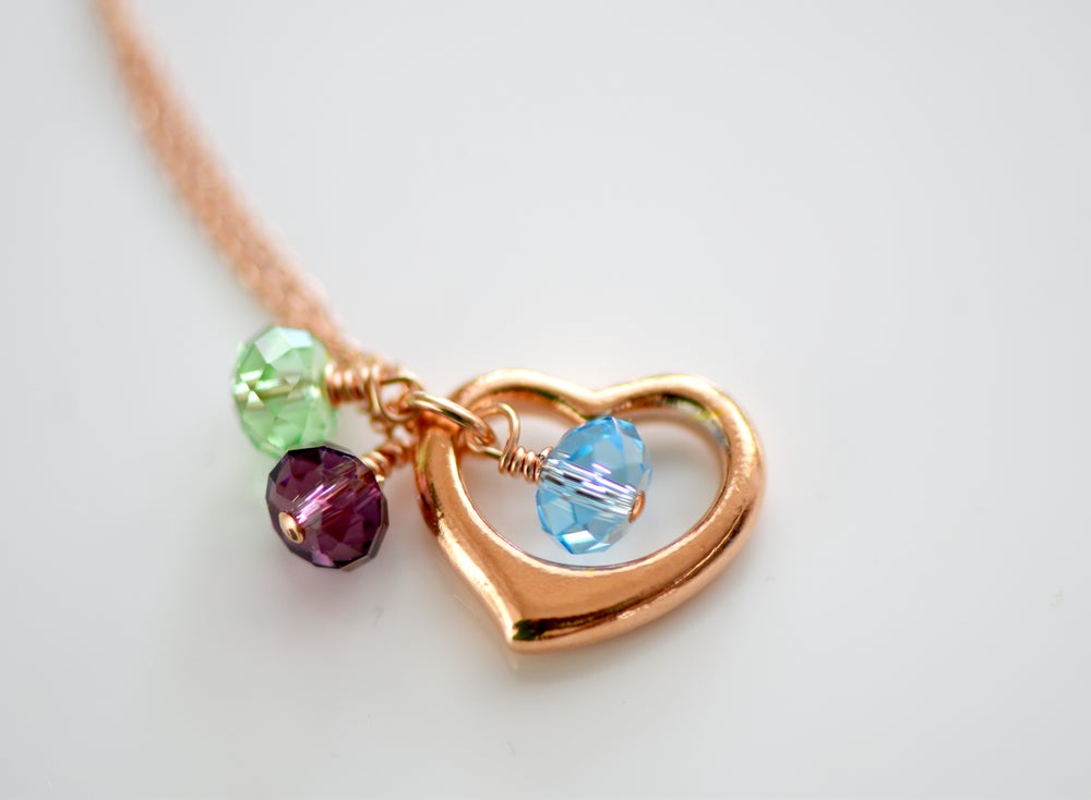 Image of Rose Gold Heart Necklace with Swarovski Birthstone
