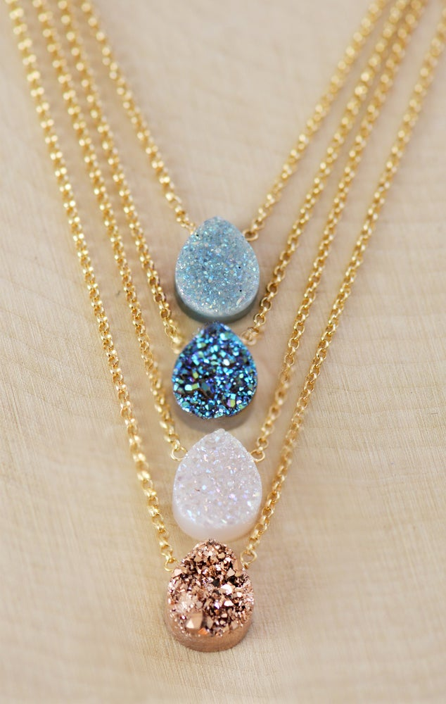 Image of Sparkling Tear Drop Druzy Necklace