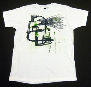 "Image of MJL ""Abstract Kelly Lines Eye Face"" White T-Shirt"