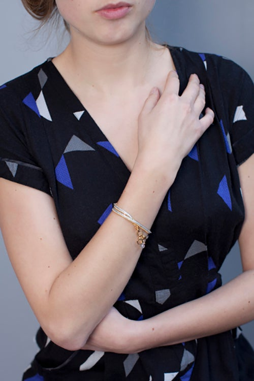 Image of Bracelet deux tours argent/or