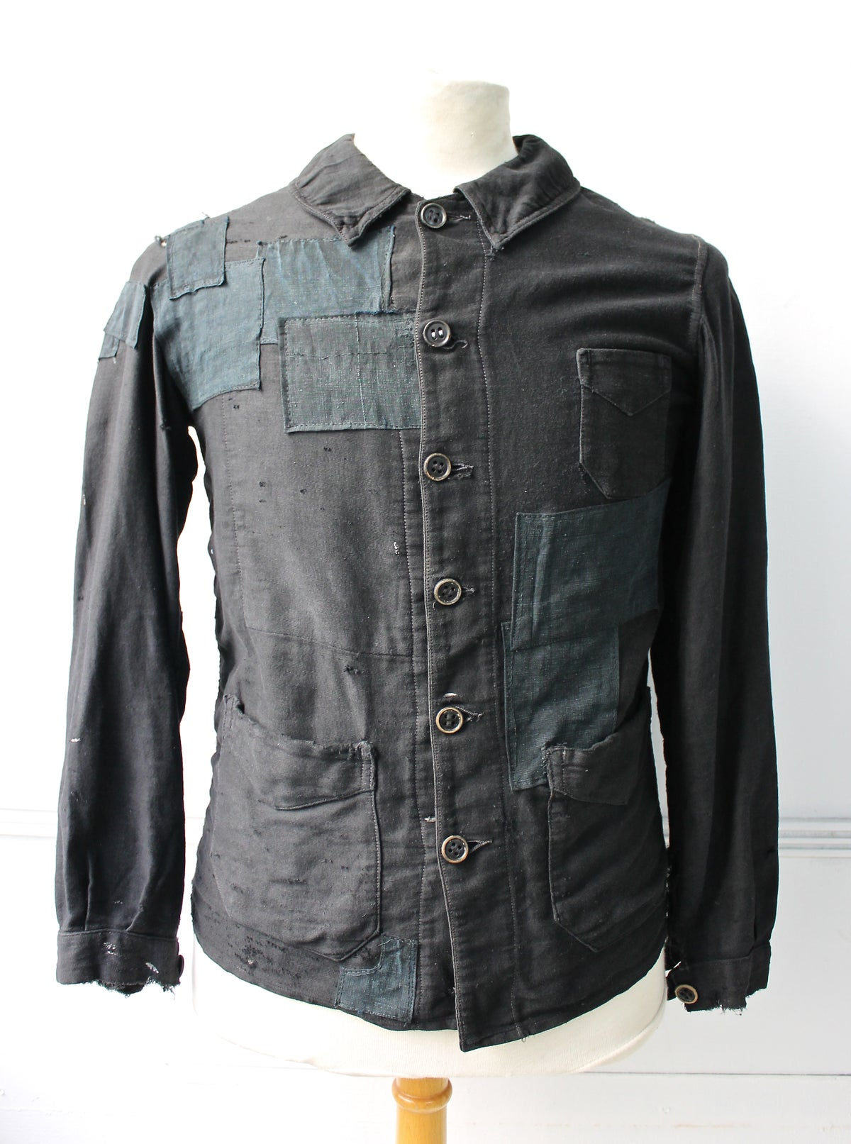 Image of 1900'S FRENCH BLACK MOLESKIN WORK JACKET FADED & LINEN PATCHED