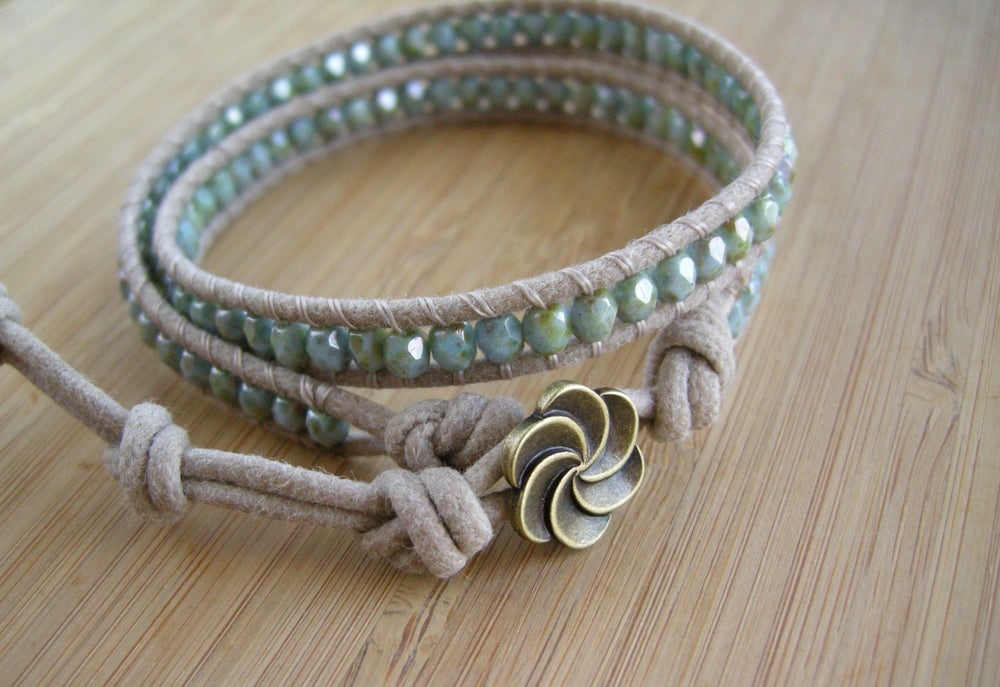 Image of Natural Biege Cotton Double Wrap Bracelet