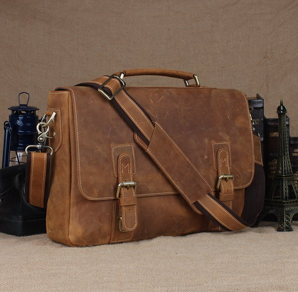 "Image of Vintage Handmade Crazy Horse Leather Briefcase Messenger 13"" 14"" Laptop 13"" 15"" MacBook Bag (n14-2)"