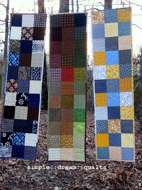 "Image of table runner, wall hanging - 50"" x 13.5"" - squares - 3 color choices"
