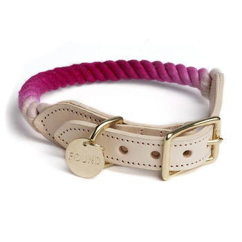 Image of Magenta, Ombre Rope & Leather Collar