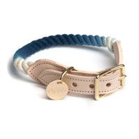 Image of Indigo, Ombre Rope & Leather Collar