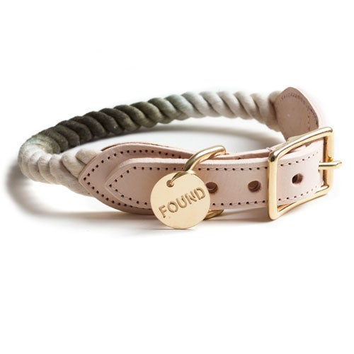 Image of Olive, Ombre Rope & Leather Collar