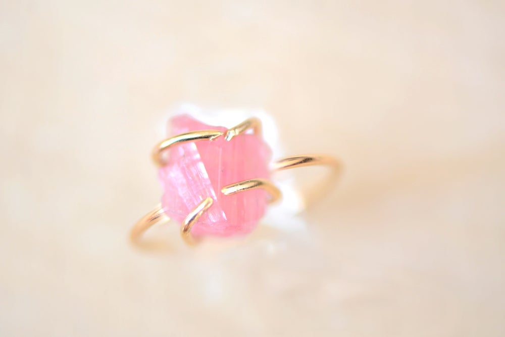 Image of Unique Pink Tourmaline Stone Ring