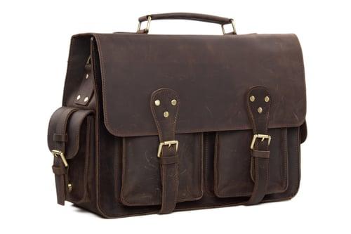 Image of Handcrafted Rustic Leather Briefcase, Messenger Bag, Laptop Bag, Men's Handbag 7145