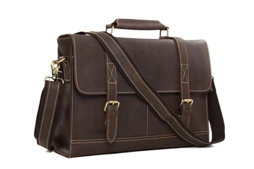 Image of Vintage Genuine Leather Briefcase Messenger Bag Laptop Bag 6938