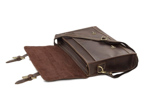 Image of Vintage Genuine Leather Briefcase Messenger Bag Laptop Bag 6938