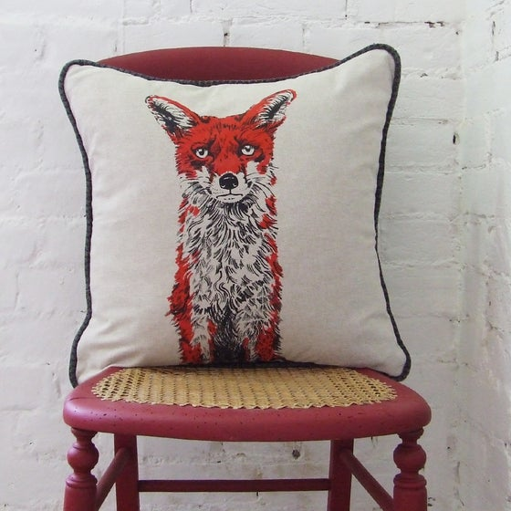 Image of RED FOX CUSHION, LINEN