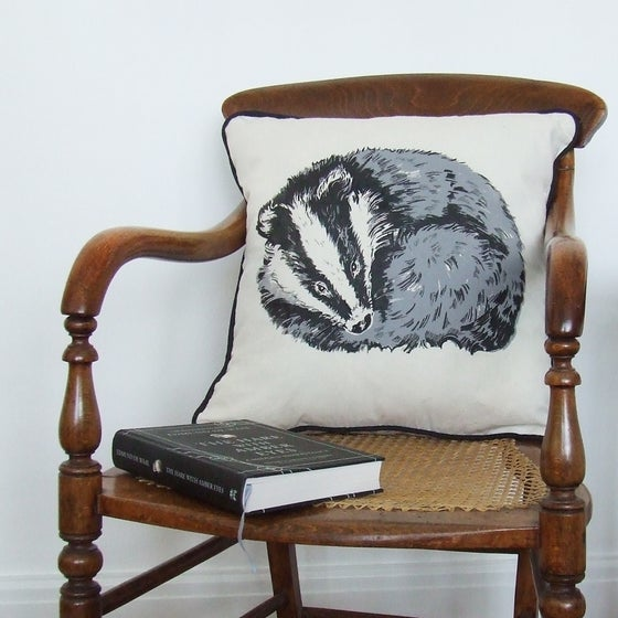 Image of RESTING BADGER CUSHION, CALICO