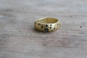 Image of Square Hammered Ring with Sapphires