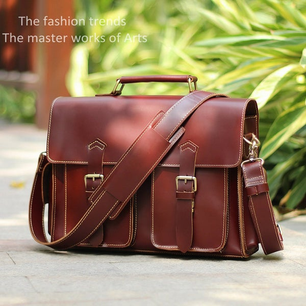 "Image of Handmade Leather Messenger Satchel / Briefcase / 13"" MacBook or 13"" Laptop Bag (n23-4)"