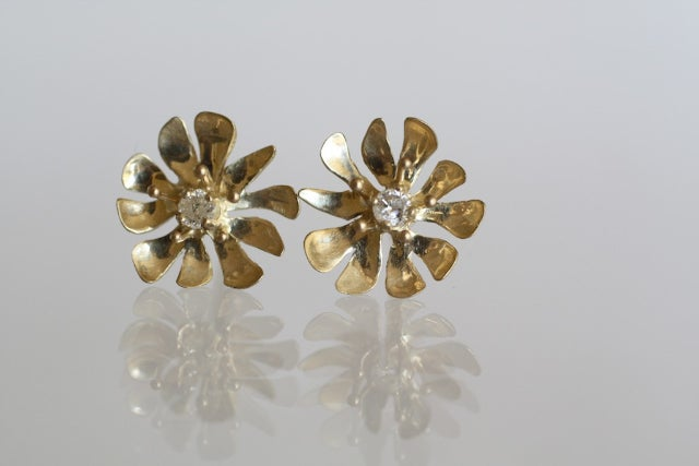 Image of Flower Bud and Tendril, with Diamonds - earrings