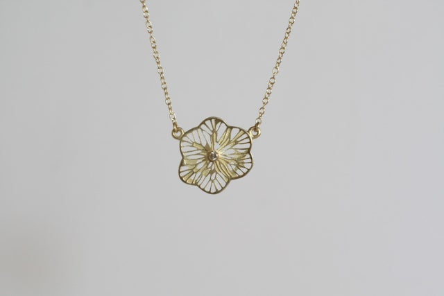 Image of Flower Stage Necklace, Single, diamond